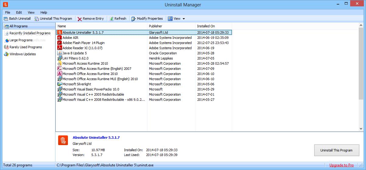 Скриншоты программы absolute uninstaller