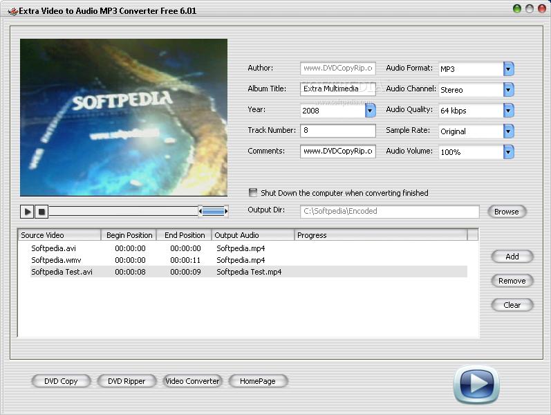 برنامج لاستخراج الصوت من الفيديو وتحويل الملفات الصوتية Extra Video to Audio MP3 Conv